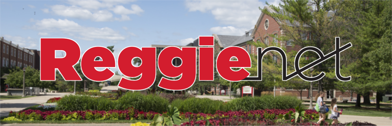 Stylized ReggieNet Logo over summer campus background