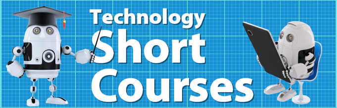 Technology Short Courses logo with two cute robots