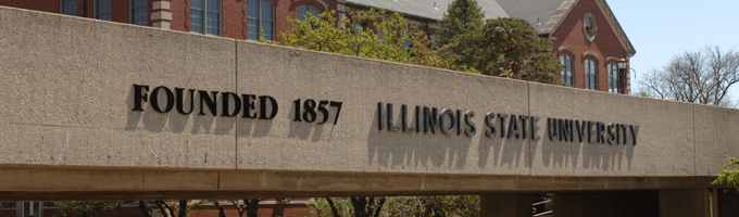 College Ave pedestrian bridge which reads: Founded 1857 Illinois State University